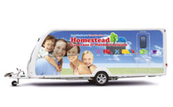 Homestead Caravas Show Caravan with full wrap display