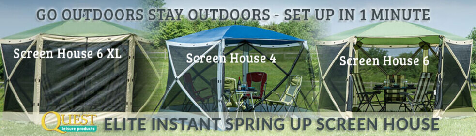 Collage of Quest Elite Instant Spring Up Screen House 6XL 6 and 4 in a & How to Erect The Quest Elite Instant Spring Screen House