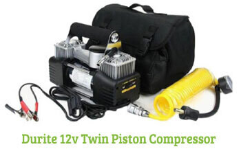 Durite 12v Twin Piston Compressor on display
