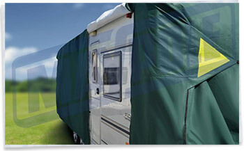 Maypole Premium Caravan Cover fitted with opening to caravan door zipped open