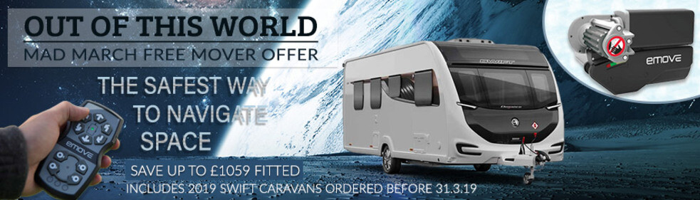 Free caravan mover when you buy a 2019 Swift Caravan before 31.3.19