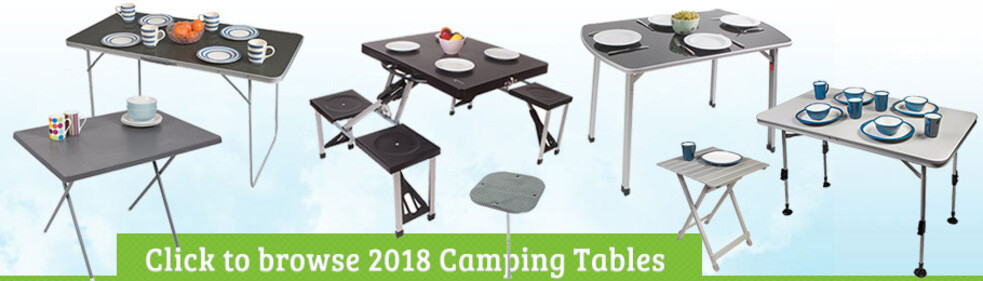Click to view our 2018 Camping Tables Range - Selection of tables on sky background