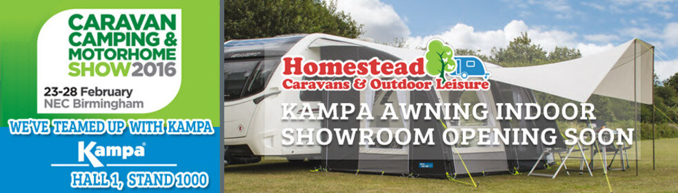 Visit Homestead Caravans on the Kampa Stand at NEC Caravan Show Feb 2016