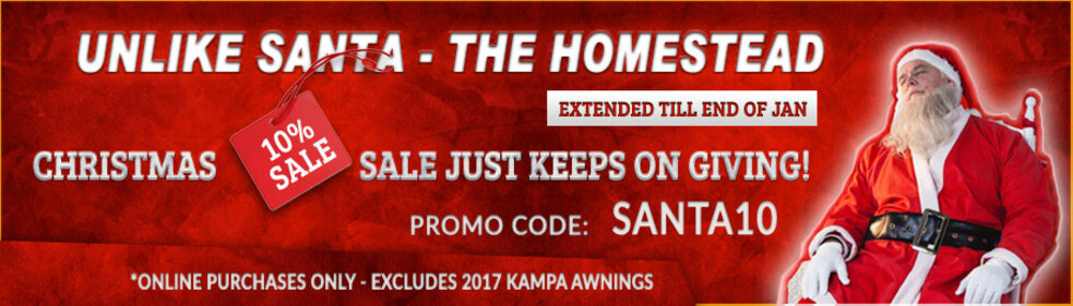 The Homestead Caravans Christmas Sale has now been extended until the end of January advertisement banner