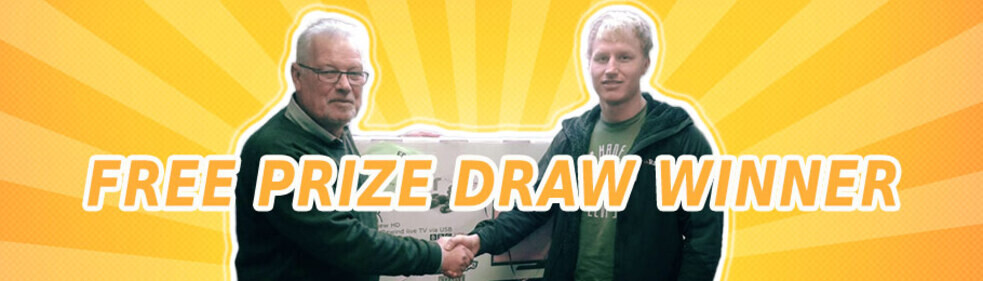 Winner of Homestead Caravans In-store Raffle Collecting Prize